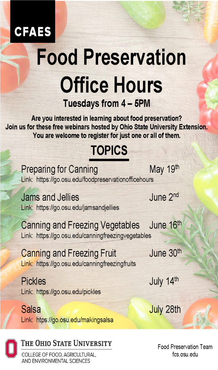 Food Preservation Office Hours Poster